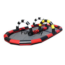 giant outdoor sport games cheap inflatable zorb ball track race track inflatable go kart track for sale free air shipping tanie tanio 3 Years Inflatable Playground Outdoor Playground 210D oxford pvc tarpaulin yellow green red black white No need blower work all the time