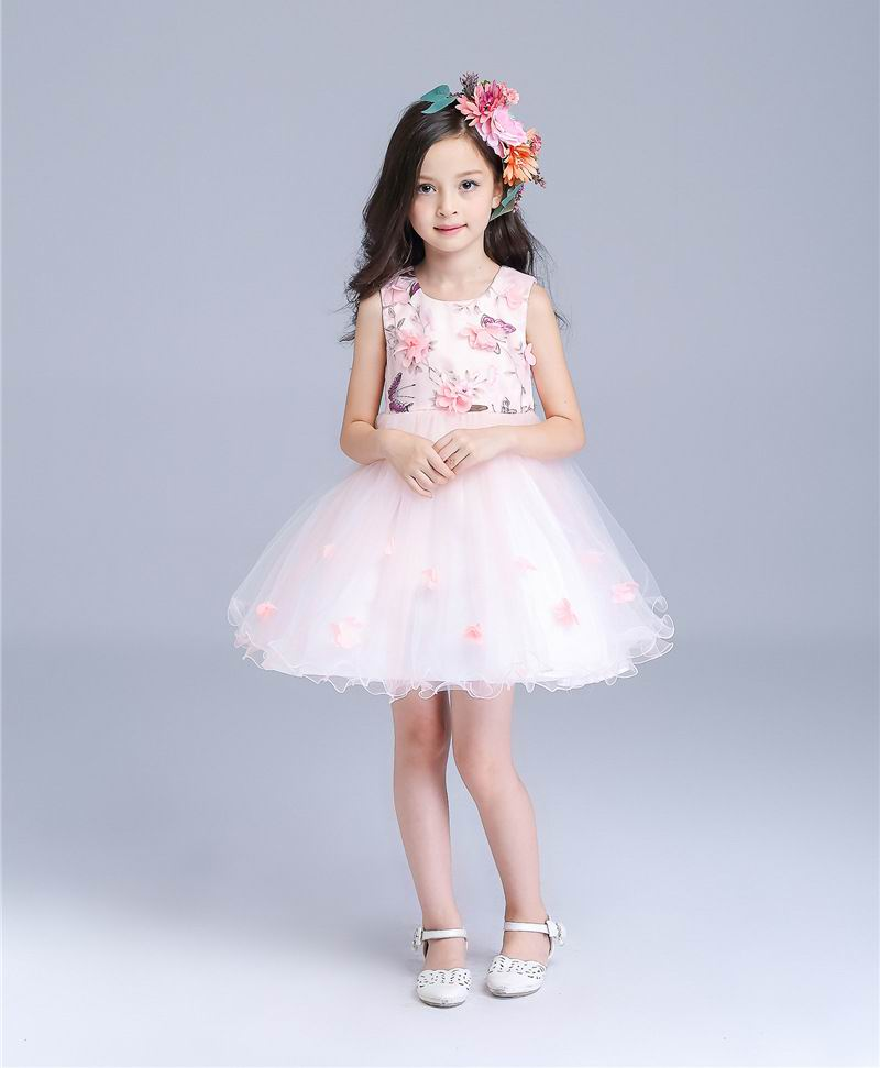 Retail Girls Dresses Summer Princess Girl Party Wedding Dress Pink Flower Butterfly Girl Fashion Dress Children Clothes E8501 retail girls dress princess wedding dress girl party dress children s clothes 8 colors girl dress free shipping p56