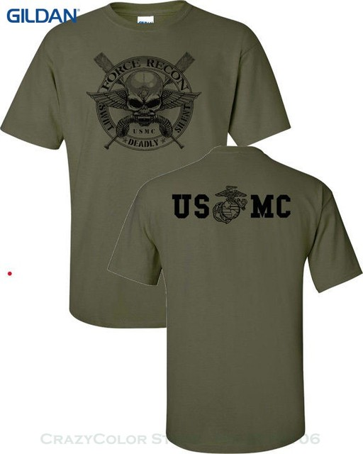 Gildan tops cool t shirt marine corps force recon usmc for Custom military unit t shirts