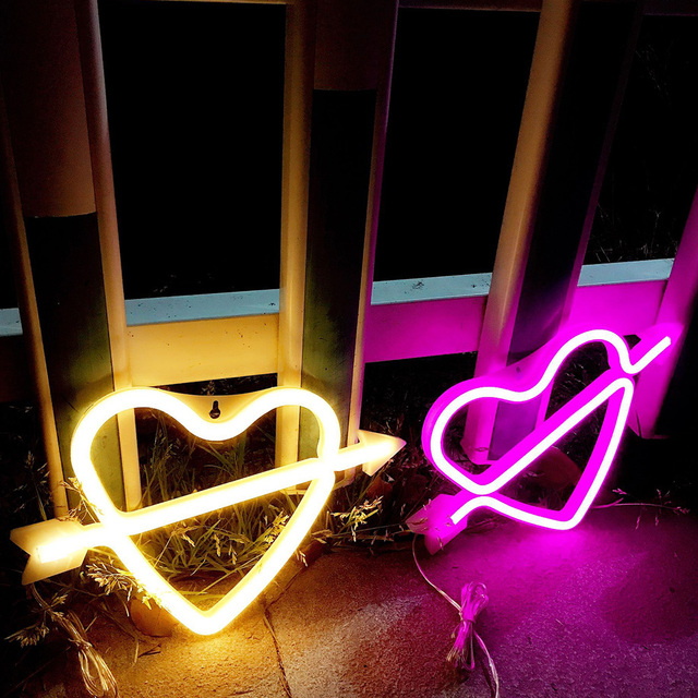 Led Neon Lamp Night Light Battery Operated Ed Cupid Loving Heart Shape Pink Lighting Color For Home Party Decoration