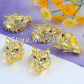 30pcs Gold Plated Wolf Head Crystal Connector Beads Jewelry Findings