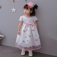 2018 Summer Floral Pink Girl Dress Princess Angel Flowers Round Neck Party Vestido Little Girl Clothing for 1 to 8T SKF154721