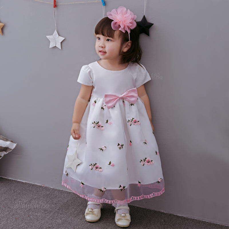 2019 Summer Floral Pink Girl Dress Princess Angel Flowers Round Neck Party Vestido Little Girl Clothing for 1 to 8T SKF154721