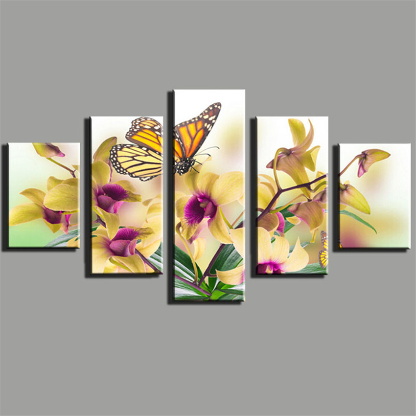 ⊹5 Panels Butterfly Canvas Painting Picture Animals Canvas Printing ...