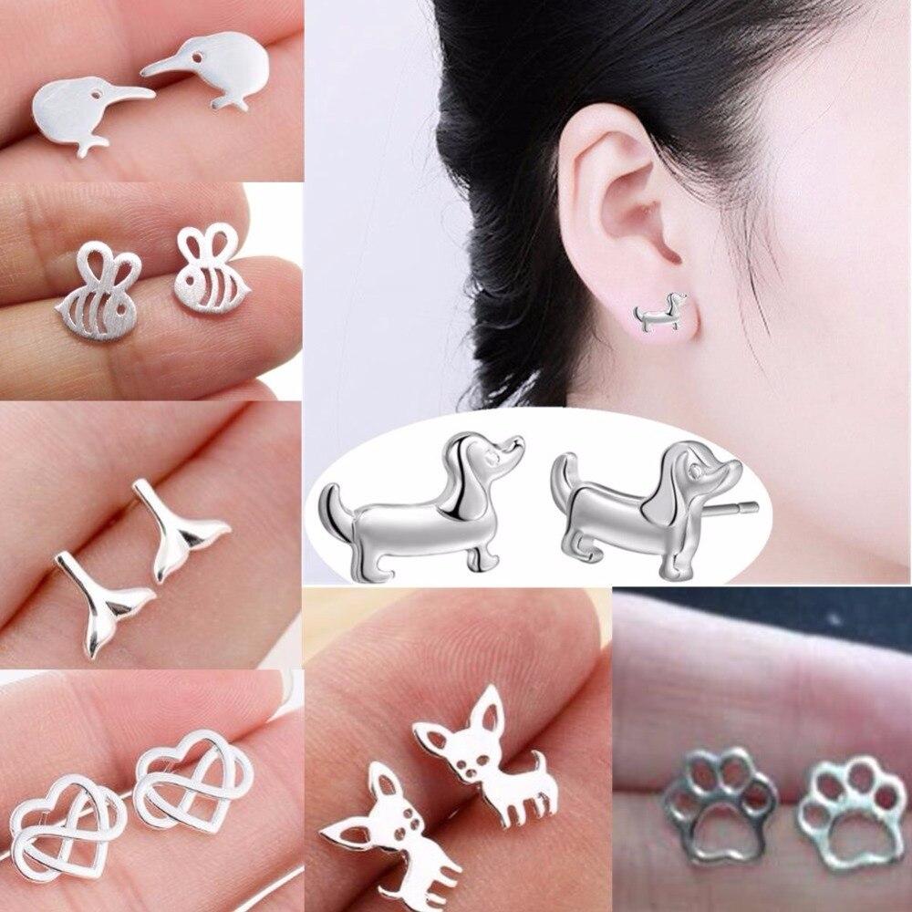 QIAMNI Cute Birds Dog Bee Crab Shark Stud Earrings For Women Lover Birthday Gift Animal Earrings Femme Pendientes Dropshipping