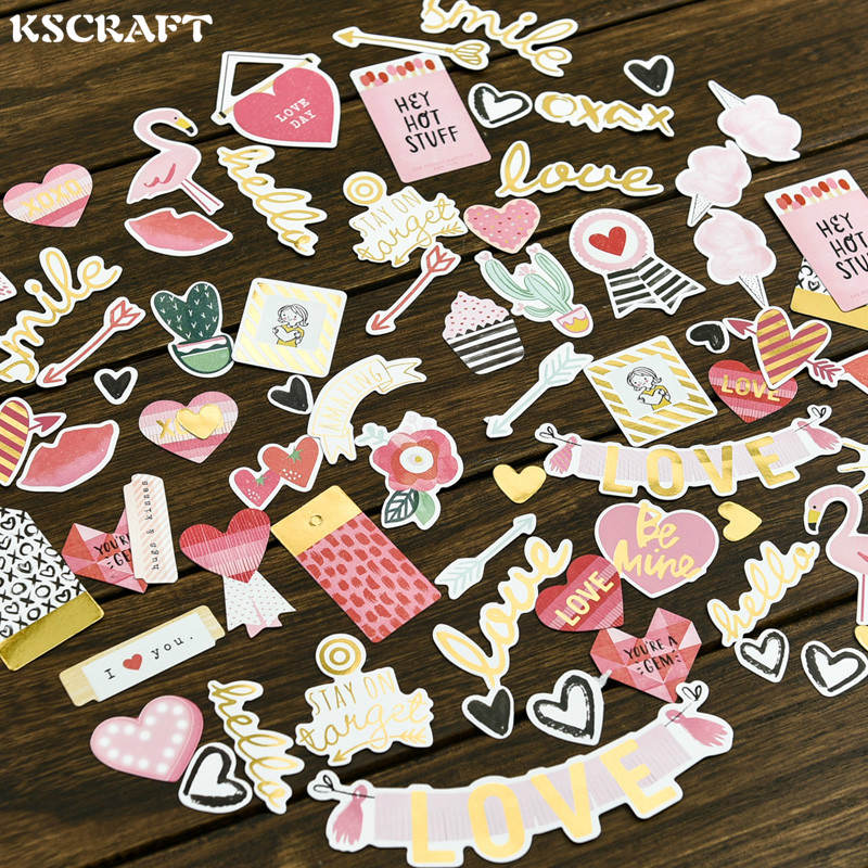 70pcs My Sweet Love Foil Gold Paper Die Cut Stickers For DIY Scrapbooking/photo Album Decoration Card Making Crafts