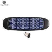 C120 2,4G 6-achsen Sensor Drahtlose Fly Air Mäusetastatur 3 farbe Led-backlight-gaming-tastatur Fernbedienung für PC Android und TV Box