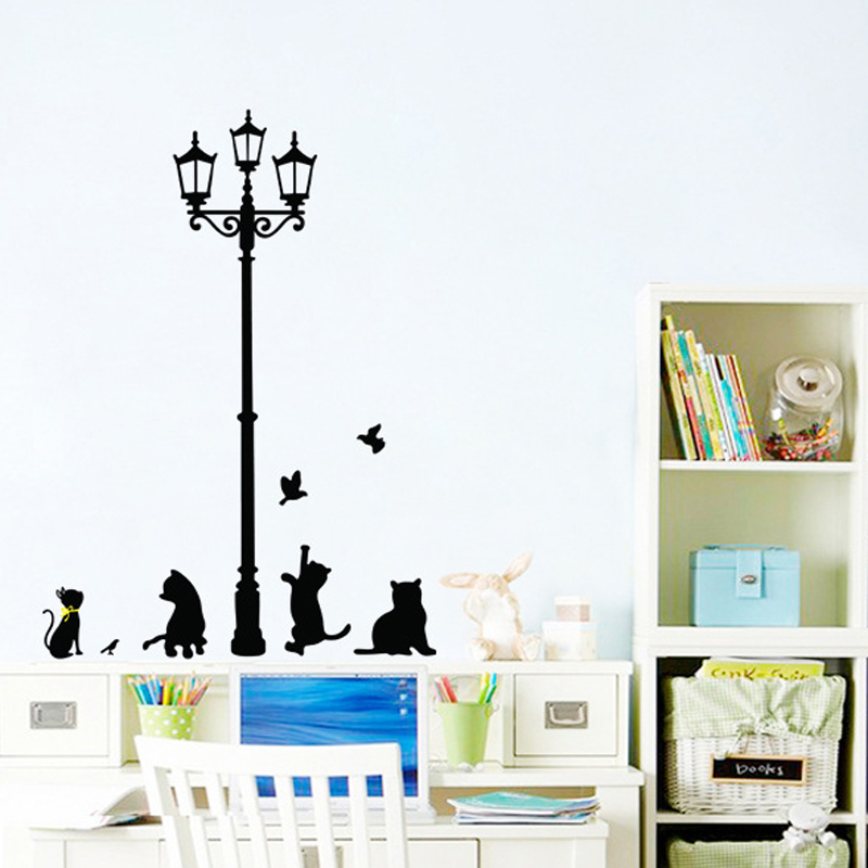 Vinyl Walls Wall Sticker Poster Cats Birds Street Light ...