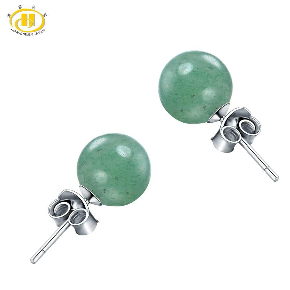8e4bc3806 Detail Feedback Questions about Hutang 6mm Natural Green Jade Silver Stud  Earrings Solid 925 Sterling Gemstone Aventurine Fine Fashion Stone Jewelry  For ...