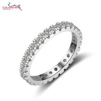 COLORFISH Fashion Eternity Engagement Wedding Band Rings For Women 925 Sterling Silver Full Cubic Zirconia Female Finger Ring