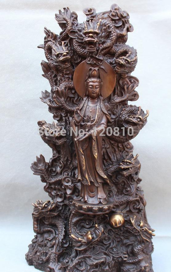 15 Bouddhisme Chinois Fengshui Bronze Guan Yin kwan-yin Déesse & 9 Dragon Statue