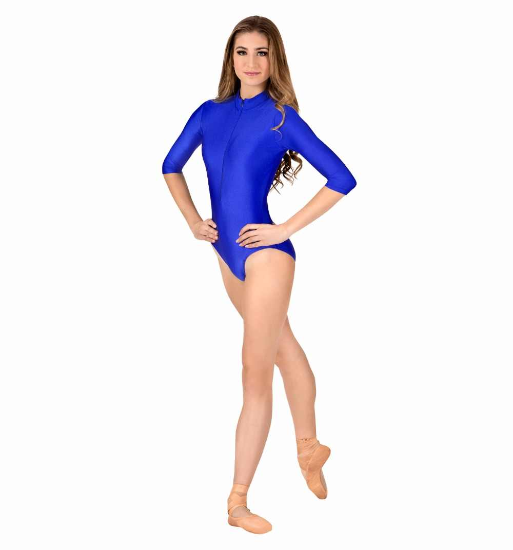 358fe367e774 ... Adult 3/4 Sleeve Zip Front Leotard For Women Gymnastics Ballet Dance  Leotards Mock Turtleneck ...