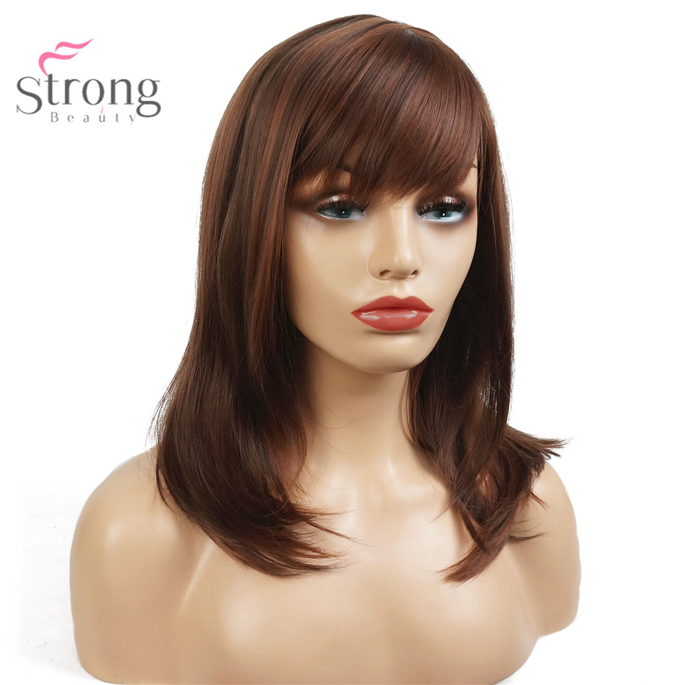 StrongBeauty Auburn Long Straight Wig Bob Neat Bang Hairstyle Women Synthetic Full Wigs