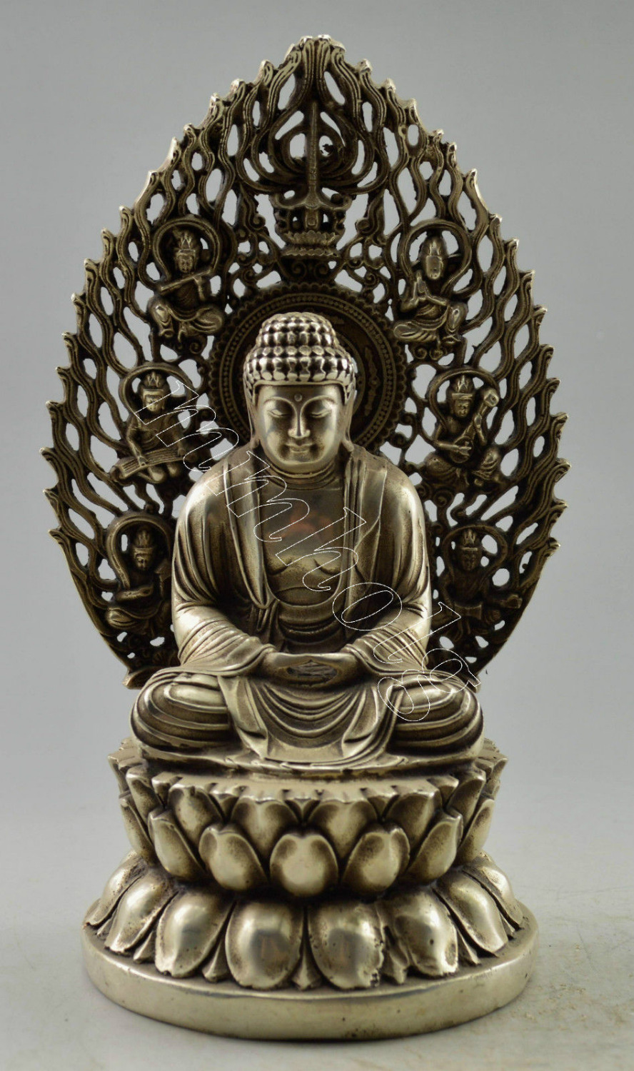 Collectible decorate Tibet silver Handwork carved Buddha Statue