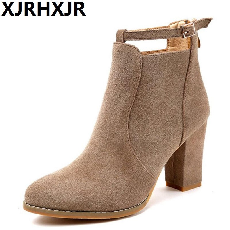 XJRHXJR Pointed Toe Shoes Woman Fashion Buckle Ankle Boots Ladies High Heels Suede Leather Martin Boots Back Zipper Black Khika enmayla fashion front zipper ankle boots women chucky heels square toe high heels shoes woman black yellow suede autumn boots