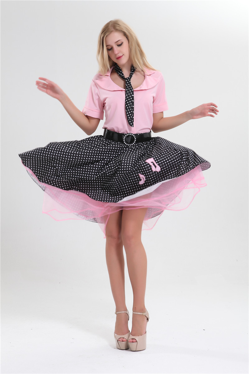 US $14 0 20% OFF|Rock N roll costume 1950's Poodle Rockabilly Retro Swing  Grease Fancy Dress Costume plus size M 6XL-in Movie & TV costumes from