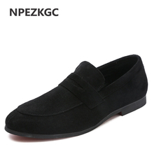 NPEZKGC High Quality Slip on Men Shoes Leather Loafers for Man Casual Breathable Men Flat Shoes Big Size 38-48