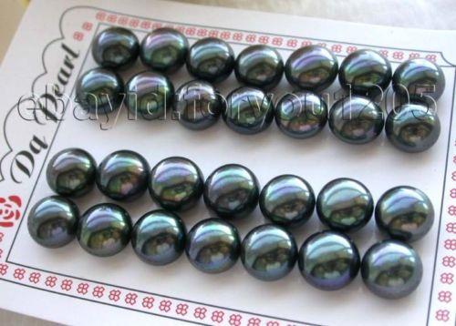 Vente chaude nouveau--chaude En Gros 14 paires Naturel 13mm Noir Perle Boucles D'oreilles