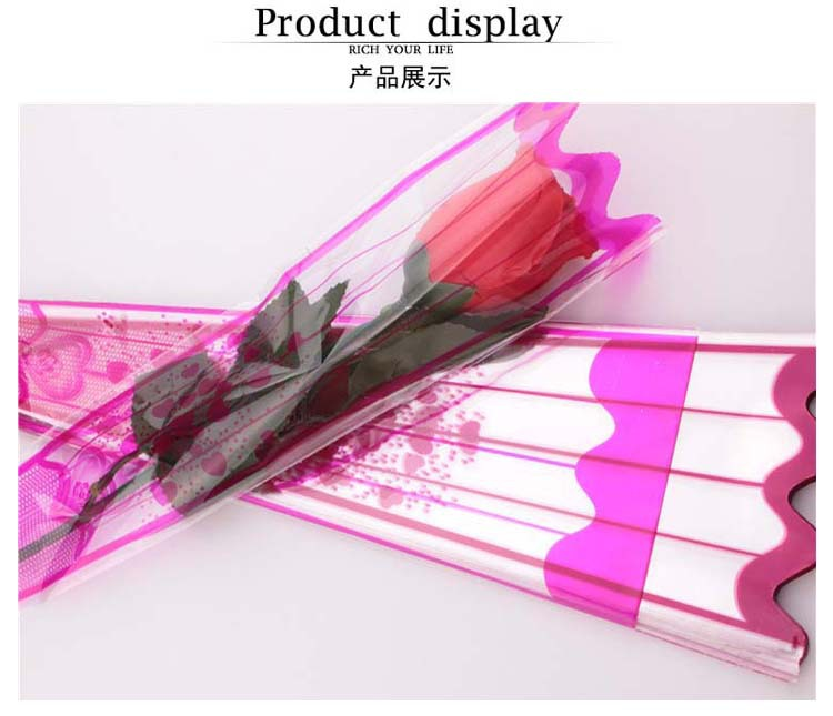 Pack of 100 Pink Flower Wrapping Plastic Single Rose Packaging Bag