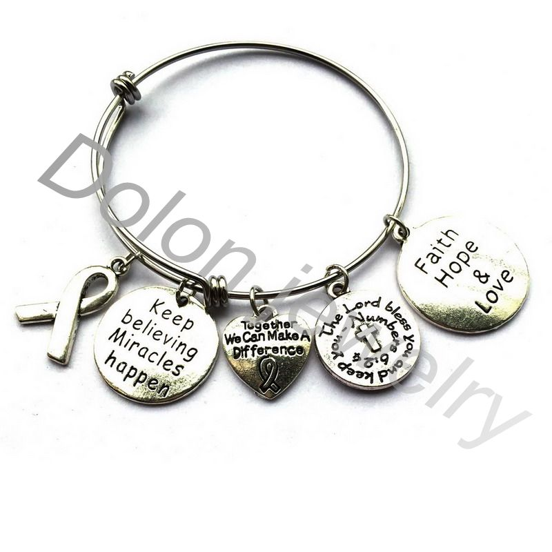 Together We Can Make A Difference Cancer Awareness Bangle