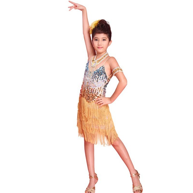 fccb1711d231 Hot Girls Latin Dance Tango Sequin Dancing Children Girl Fairy Dresses  Costume