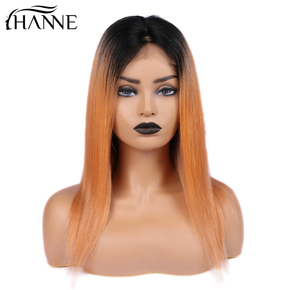 4*4 Lace Closure Wig Ombre Orange Straight Brazilian Remy Hair Lace Human Hair Wigs 150% For Black Women HANNE Hair