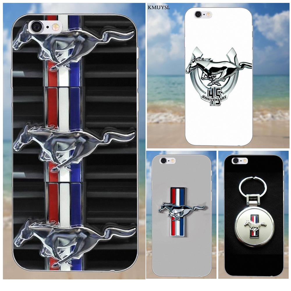 Soft Cell Fall Einzigartige Ford Mustang Auto <font><b>Logo</b></font> Für <font><b>iPhone</b></font> X 4 4S 5 5C SE 6 6 S 7 8 Plus Galaxy S5 S6 S7 S8 Grand Core II Prime Alpha image