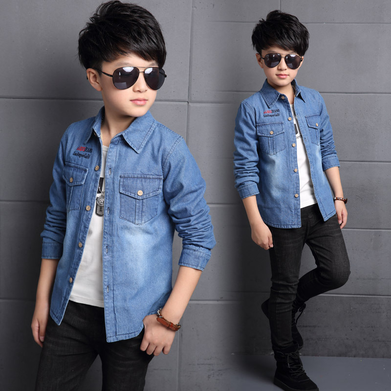 Big Boys Jeans Blouse 5 6 7 8 9 10 11 12 13 14 15 Years Teenagers Baby Boy Kids Shirts Winter Warm Denim Tops Teens Clothing
