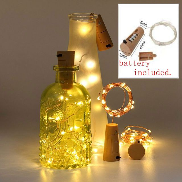 10pcs Battery Included 2M LED String Garland Wire Wine Bottle Stopper Lights Cork Shaped For Party Wedding Home Decor
