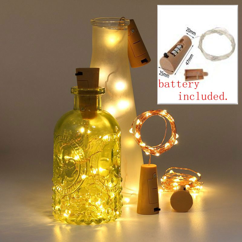 Battery Included 10PCs 2M LED String Lamps Garland Wire Wine Bottle Stopper Light Cork Shaped For Party Wedding Home Decoration