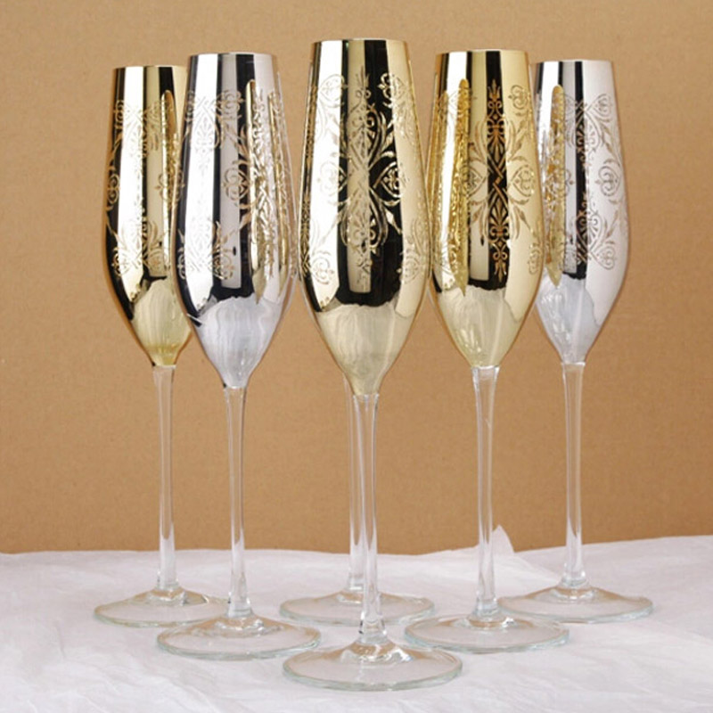 gloss metal champagne flutes 22k gold finish crystal for red wine glass of - Crystal Champagne Flutes