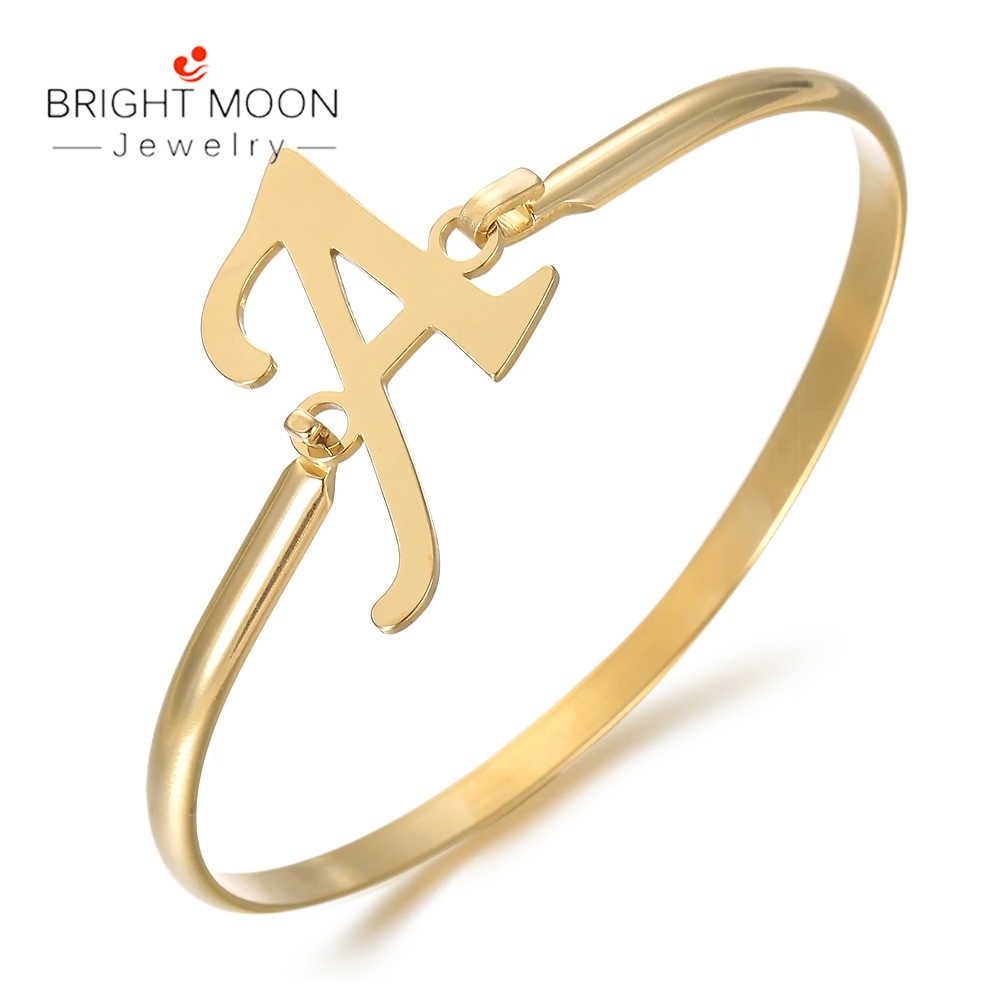 Jasny księżyc moda popularne biżuteria złoty kolor LetterABCD ze stali nierdzewnej mężczyzn bransoletka zapięcie dla dziewczyny kobiety akcesoria