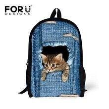 Forudesigns niños mochilas lindo 3d animal gato mochila de mezclilla para niños chicos chicas casual kids school book bag mochila