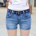 Mujeres de talla grande bordado ripped denim jeans denim shorts mediados de cintura elástica denim shorts tanga FS0101