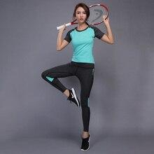 BINTUOSHI Women Sport Yoga Set Splicing Breathable Short Sleeve + Pant Yoga Set Women Anti-Shrink Comfortable Soft Yoga Suit short yoga intervention