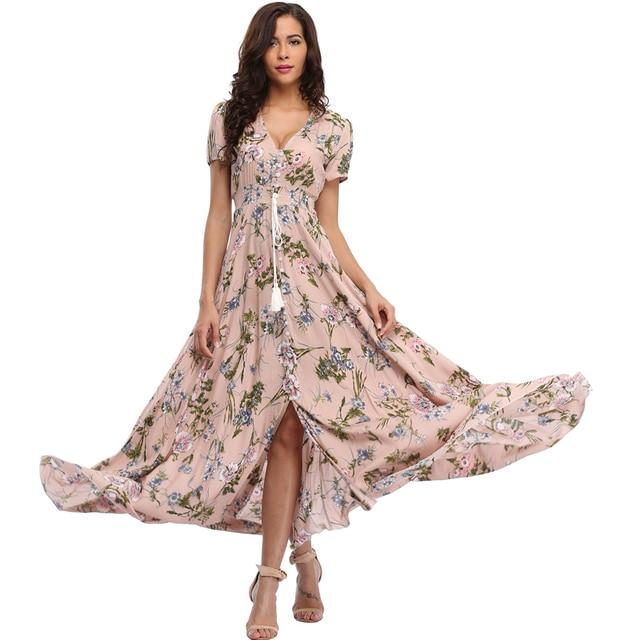 2017 длинные летние цветочные платья макси Для женщин Цветочный принт Повседневное Разделение пляжное платье элегантные дамы хлопка Винтаж Boho Платья для вечеринок