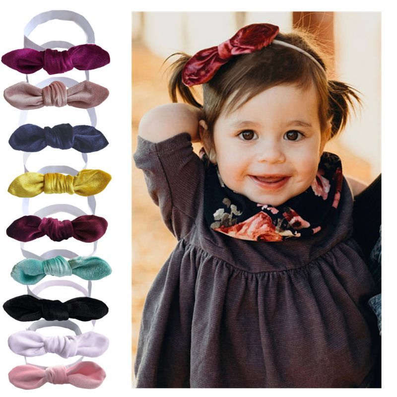 Baby Headband Fleece Soft Hair Band Kids Girls Knotted Elastic Bands Strap Rabbit Ears Headwear Cute Fashion Children Supplies