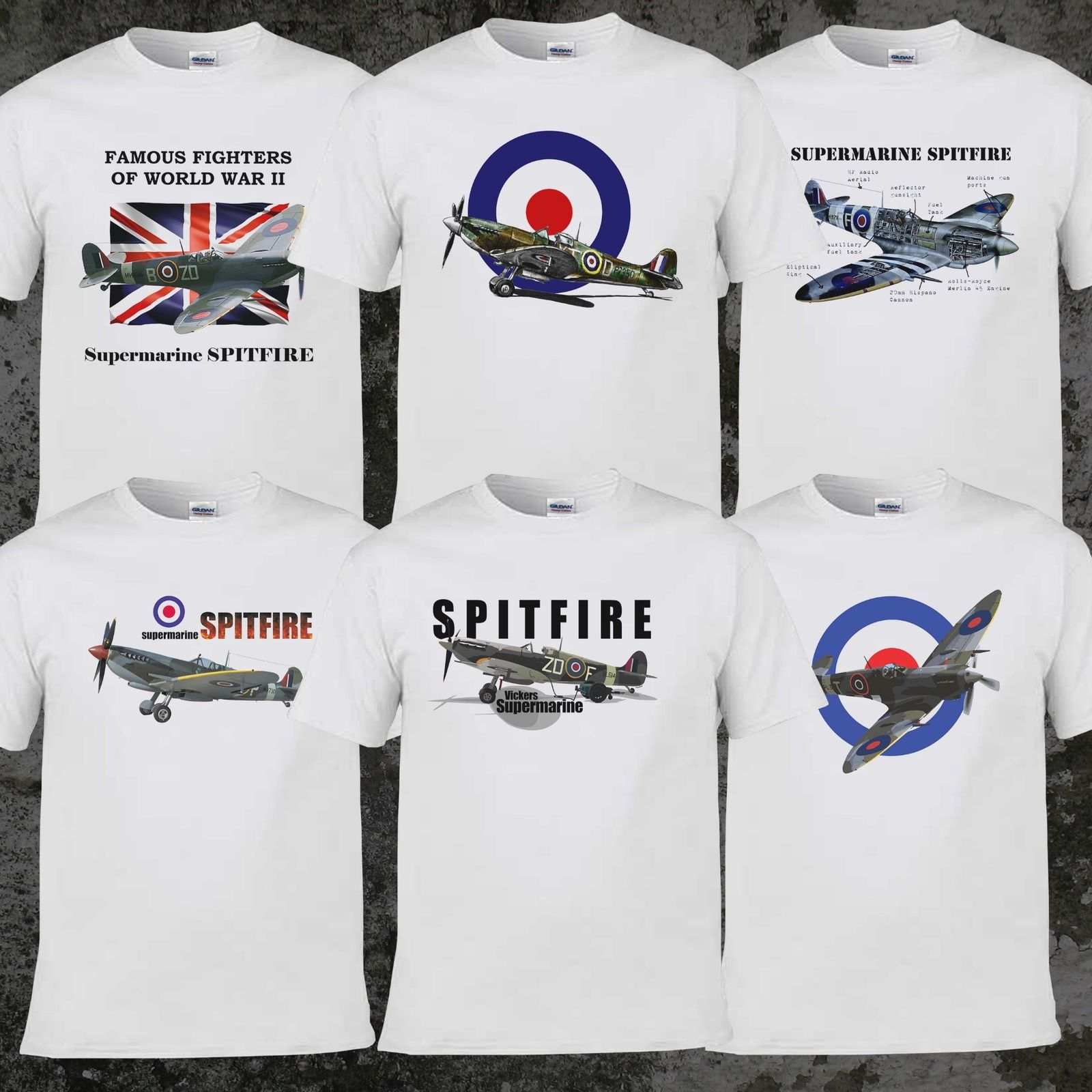 2019 Hot Sale 100% Cotton Fashion Famous Fighters Supermarine Spitfire Simple Casual Style Spitfire T Shirt Tee Shirt