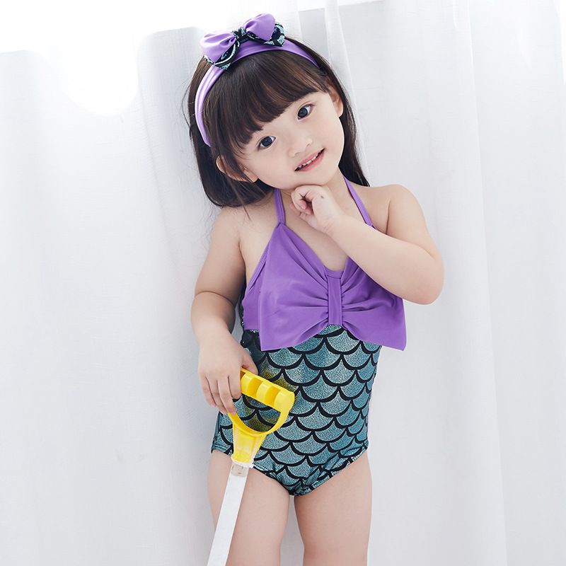 1-6 years 2018 summer hot new Baby Girls Print Swimsuit Children's Bathing Suit Baby Jumpsuit Princess Girl big bow swimsuit