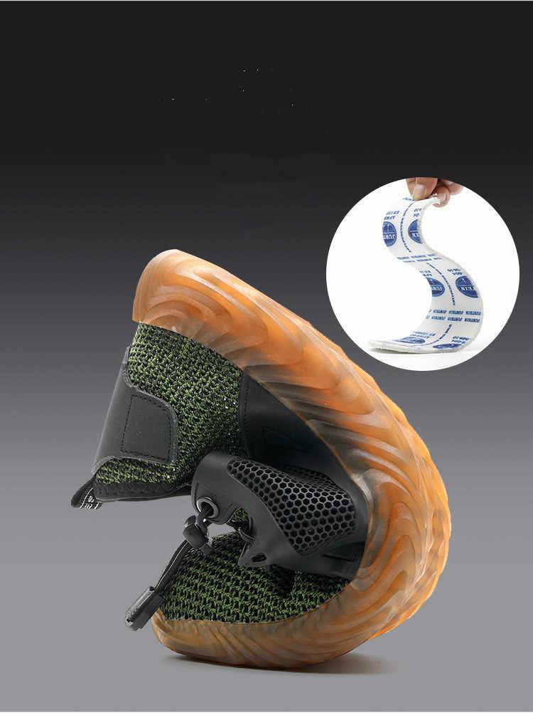 2019 Yeni Nefes Örgü Güvenlik Ayakkabıları Erkekler Işık Sneaker Yıkılmaz Çelik Ayak Yumuşak Anti-piercing iş çizmeleri Artı boyutu 36 -48