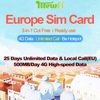Mewfi Vodafone Europe Travel Sim Card Prepaid 25 Days Unlimited Data+EU Call & SMS 500MB/day High Speed 4G Mobile Phone Sim Card