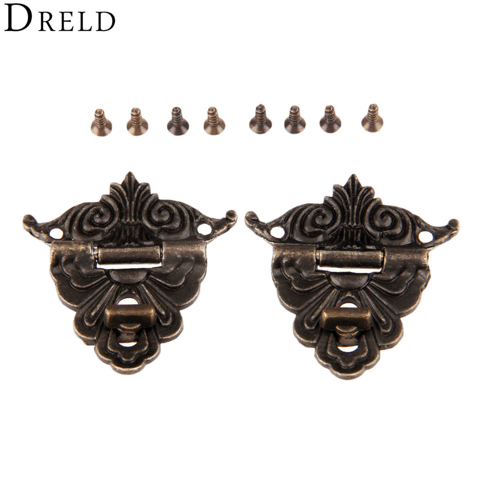 DRELD 2Pcs Antique Bronze Latches Funiture Hardware Decorative Jewelry Box Drawer Decorative Hasp Lock Latch With Screws 45*48mm