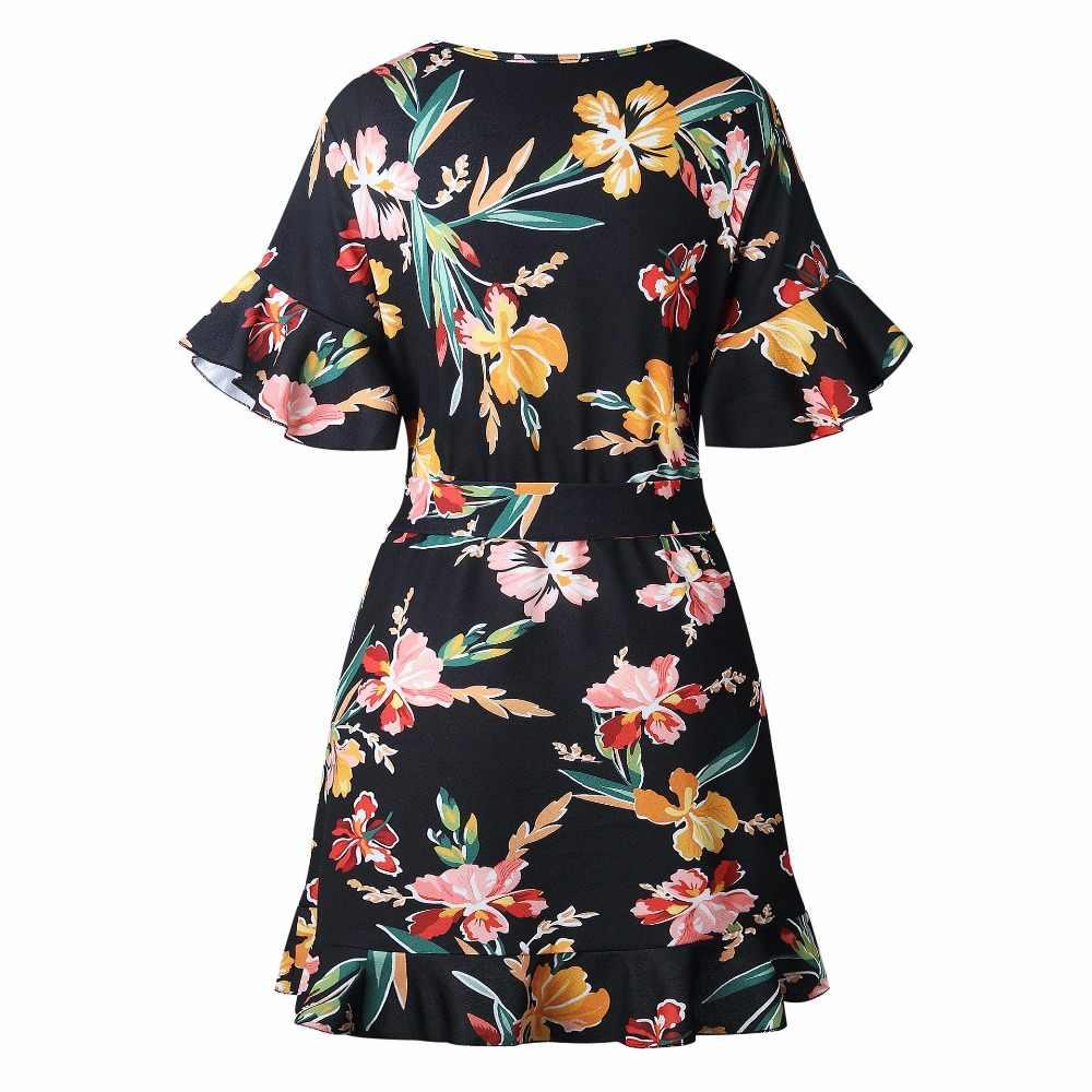 Женское платье с цветочным принтом новое летнее сексуальное платье с глубоким v-образным вырезом на шнуровке с рукавом-бабочкой Мини женские платья Vestidos