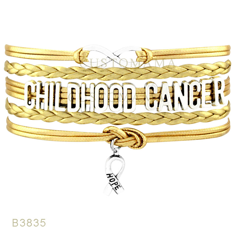 custom infinity love childhood cancer support our troops hope ribbon charm bracelets for women men gold - Support Our Troops Silicone Bracelet