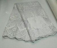 Most Popular Hot Selling Pure White With Brick Swiss Chiffon Lace Dress Fabric 5 Yards Lot
