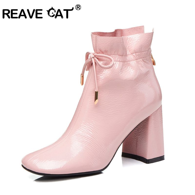 Reave Cat Ankle Boots Lace Up Block Squre Mid Thick Heel Square Toe Patent Leather Big Size Us10 Dress Spring Black Pink A1436 Easy And Simple To Handle Wires & Cables Lights & Lighting