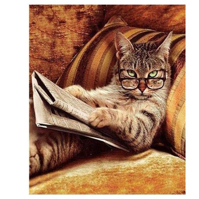 Новый Рукоделие Очки Кот Лежал На Диване, Чтение книги Алмазный Живопись Мозаика Алмаз Вышивка Украшение Дома xsy