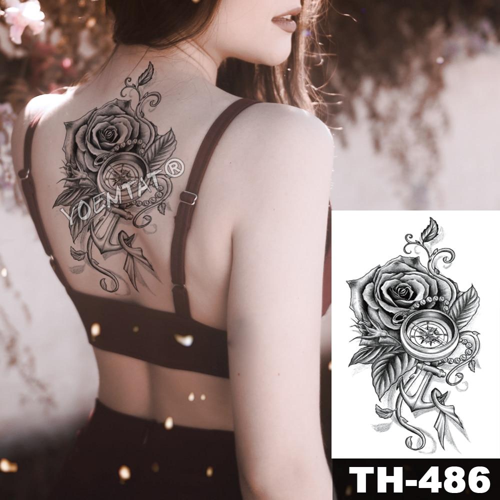 Pink Peony Rose Flower Waterproof Temporary Tattoo Sticker Black Tatto Body Art Big Arm Hand Girl Women Fake Tatoo 2