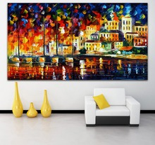 100% Hand-painted Palette Canvas Knife Painting Mediterranean Amsterdam Cityscape Architecture Oil Painting Home Wall Decor