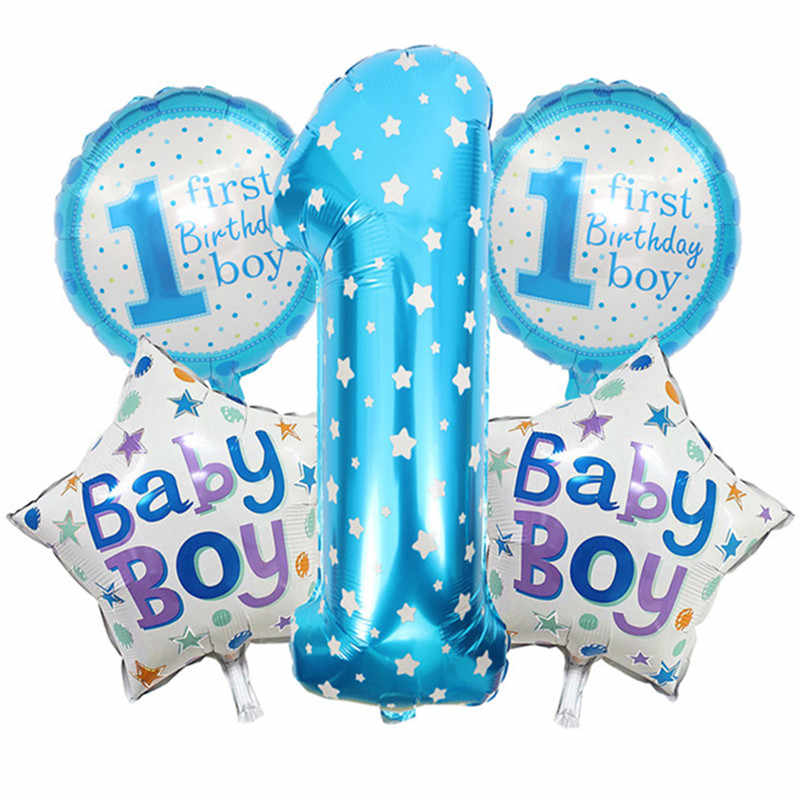 Baby 1st Happy Birthday Balloons Rainbow Boy Girl Letter Helium Ballon Birthday Party Decoration Kids Baby Shower Gifts Supplies